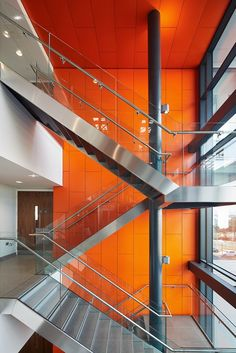 Wirral Waters, Tower Wharf, office, Armstrong, sufity podwieszane, ceiling, acoustic, sufit akustyczny, R-H 200 Atrium Metal Ceiling & Wall in RAL 2008