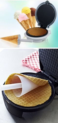 Waffle Cone Maker & Cone Form  I think my friend, Kateri, really needs this.