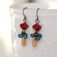 Czech Glass and Antique Copper Cluster Dangle by YuniDesigns