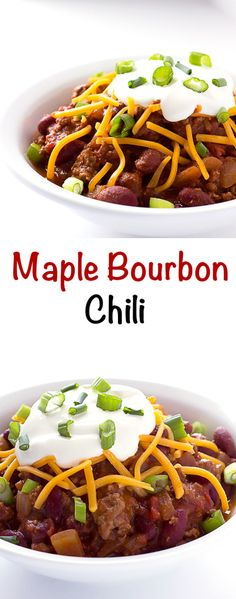 Maple Bourbon Chili - Hearty beef and bean chili with the deep rich flavor of bourbon and the sweetness of maple syrup. Bourbon Chili Recipe, Bourbon Recipes, Chili Recipes, Meat Recipes, Crockpot Recipes, Healthy Recipes, Chili Recipe Bacon, Gumbo Recipes, Burger Recipes