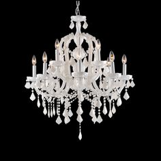 <p> 	Casablanca Way two tier chandelier available in white crystal color. Also available in Ocean Drive collection and in a one tier chandelier and a wall sconce version. Small is 29 inch diameter x 34 inches high and requires twelve 40 watt 120 volt B10 candelabra incandescent lamps not included. Large is 38 inch diameter x 38 inches high and requires eighteen 40 watt 120 volt B10 candelabra incandescent lamps not included.  </p>