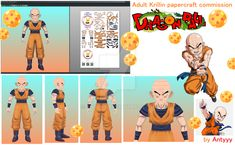 Adult Krillin papercraft commission 1 by Antyyy.deviantart.com on @DeviantArt