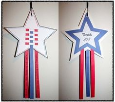 """Veterans Day activities: Cute patriotic craftivity.  Students can complete a writing prompt on the strips.  """"Thank you!"""" star option for Veterans Day."""