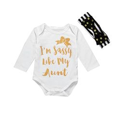 Nicerokaka Newborn Kids Baby Girl Boy Letter Jumpsuit Romper Headband Outfits Clothes Set 80 ** Read more  at the image link.Note:It is affiliate link to Amazon. #GirlsClothes