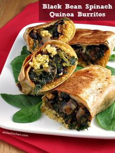 Black Bean Spinach Quinoa Burritos are delicious! However, my wrapping skills are not up to scratch yet!protein-packed with black beans and quinoa, and healthy vegetables. Easy to whip together and then baked to perfection! {great for the freezer} Gourmet Recipes, Mexican Food Recipes, Whole Food Recipes, Vegetarian Recipes, Cooking Recipes, Healthy Recipes, Vegan Meals, Healthy Meals, Vegetarian Sandwiches