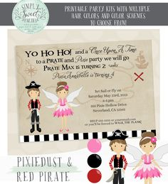PIRATE AND PIXIE INVITATION. 5 by 7 printable invitation.