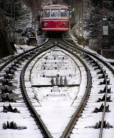 Koya Lift   ~~ The train up the snowy mountain at Koya, Japan by photosapience, via Flickr     .....rh
