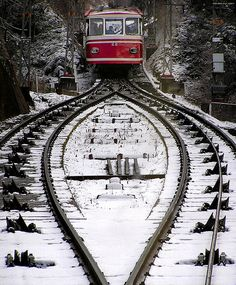 Koya Lift   ~~ The train up the snowy mountain at Koya, Japan by photosapience, via Flickr     .....rh
