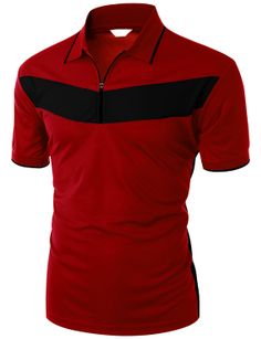 Doublju Men's 2 Tone Pattern Coolmax Fabric Short Sleeve Polo T-Shirt (KWTTS049M) #doublju