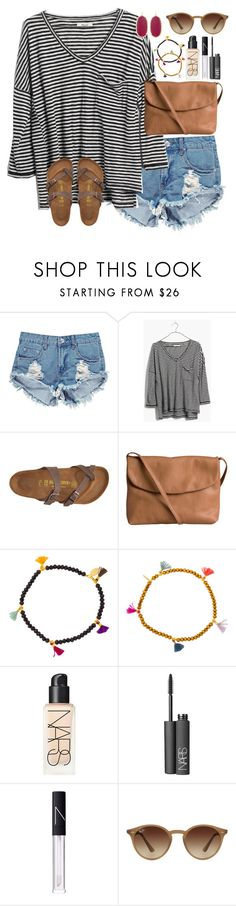 """""""It's already been two weeks of school!"""" by lauren-hailey ❤ liked on Polyvore featuring Boohoo, Madewell, Birkenstock, Pieces, Shashi, NARS Cosmetics, Ray-Ban and Kendra Scott"""