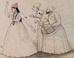 The Dancer Zafar and her Musicians, 1740 by Nainsukh Zorawar Singh, Blue Carnations, The Dancer, Girl Dancing, Gouache, Sketches, Miniatures, Drawings, Calligraphy