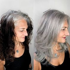 40 Color Hairstyles Before and After in 2019 – Page 7 of 7 – Vida Joven – Übergangsfrisuren Long Gray Hair, Dark Hair, Silver Grey Hair, Silver Color, Grey Hair Dye, White Hair Highlights, Grey Hair Transformation, Grey Hair Inspiration, Gray Hair Growing Out