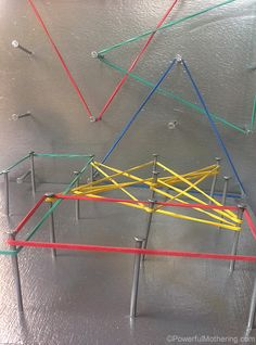 More than just a geoboard. Check out these 7 exciting ways to either use or make a DIY geoboard with a twist! Preschool Math Games, Fine Motor Activities For Kids, Preschool Crafts, Toddler Activities, Math Literacy, Reggio Inspired Classrooms, Dramatic Play Centers, Educational Crafts, Montessori