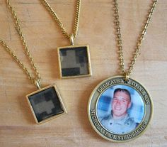 FALLEN SOLDIER UNIFORM PENDANT ~ Sweater Surgery shares how she created pendants made with scraps from fallen Soldier's uniforms to give to Gold Star Moms. #DIY www.operationwearehere.com/craftssewingetc.html