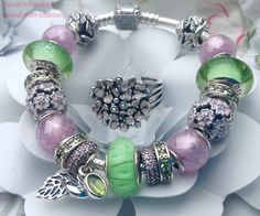 Pandora Pink and Green Daisies and Primroses for Spring