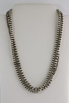 """Native American Navajo Pearls Graduated Sterling Silver Bead Necklace 21/""""Sale A8"""