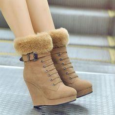 f9f115c9c7a7 Women Ankle Boots Wedges Platform Buckle Zipper Fur High Heels Winter Shoes  Woman 2016 3524