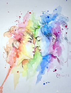 OMG, un love with this fanart 😍 Chi Cheng, Beautiful Tumblr, 2moons The Series, 2 Moons, Theory Of Love, Asian Love, Ulzzang Couple, Thai Drama, Kawaii