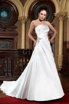 Robe de mariée simple attirent fermeutre eclair de traîne mi-longue a-ligne