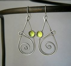 peridot swirl earrings, sterling silver, .925, hand crafted, peridot,august birthstone,green dangle earring