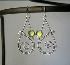 peridot swirl earrings, sterling silver, .925, hand crafted, peridot,august birthstone,green dangle earring
