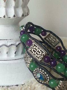 Amethyst Green Jade silver metal beads some by TotallyToniDesigns, $35.00