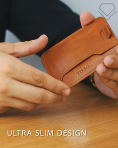 ✅Space for up to 8 cards ✅RFID-blocking on the main compartment quick access slots on the front ✅Automatically retracting strap ✅Slot for folded notes on the back ✅Dimensions: x x ✅Handcrafted using premium leather Leather Diy Crafts, Leather Bags Handmade, Leather Projects, Leather Craft, Leather Bag Tutorial, Leather Wallet Pattern, Slim Leather Wallet, Mens Leather Accessories, Minimalist Wallet