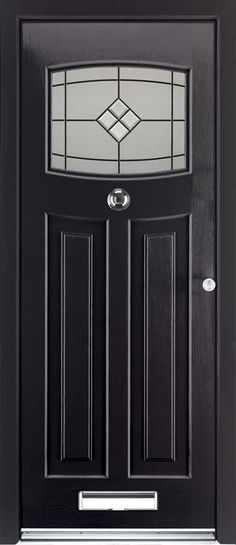 The Rockdoor Newark composite door with 12 colour options installed in Bournemouth, Poole, Christchurch, Wimborne & New Forest Front Door Porch, House Front Door, Front Porches, 1930s Doors, Art Nouveau, Composite Front Door, Black Front Doors, 1920s House, French Doors Patio