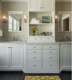 Seperate Sinks With Storage Between Bath Design Ideas, Pictures, Remodel and Decor