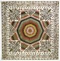 """1825 - 1835 Betsy Totten's """"Rising Sun"""" Quilt. While Precise Names were rarely given in the 19th cent. Mary left no doubt about the name of this quilt, it's importance was in her WILL~""""1st, after all my lawful debts r paid, I bequeth to Rachel Drake, my Lrg spread called the Rising Sun"""".  An 8 pt Star 76"""" across. 