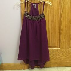 Embellished purple tank Purple tank with embellishments on the neckline, NEVER WORN, only tried on! I absolutely LOVE this tank but it is a little too small for me, size small, purchased at Maurices. Maurices Tops Tank Tops