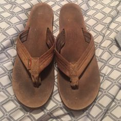 Rainbow sandals Rainbow flip flops in very used condition but still wearable. The soles feel kind of rough due to water damage and normal wear but still in wearable condition. Rainbow Shoes Sandals