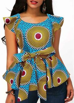 Womens Casual Tops Belted Peplum Waist Tribal Print T Shirt Best African Dresses, African Traditional Dresses, Latest African Fashion Dresses, African Print Fashion, African Attire, African Blouses, Trendy Tops For Women, African Tops For Women, Designer