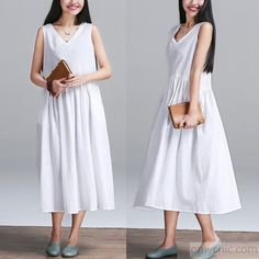 new dress for summers-White linen sundress sleeveless linen summer maxi dresses oversize