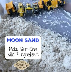 Moon Sand Recipe - Make your own moon sand with just 2 ingredients. Add trucks or characters and let the fun begin! Moon Sand Recipe - Make your own moon sand with just 2 ingredients. Add trucks or characters and let the fun begin! Space Activities, Toddler Learning Activities, Summer Activities For Kids, Holiday Activities, Sensory Activities, Infant Activities, Fun Learning, Diy For Kids, Crafts For Kids