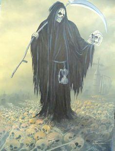 Reaper's Bone Yard Death Reaper, Grim Reaper Art, Grim Reaper Tattoo, Don't Fear The Reaper, Dark Fantasy, Fantasy Art, Skull Wallpaper, Samurai Art, Afraid Of The Dark