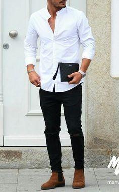 Camisa pra fora da Calça, como usar? Macho Moda - Blog de Moda Masculina: Camisa Social para fora da Calça, quando e como Usar? Roupa de Homem, Estilo Masculino, Moda para Homens, Camisa Masculina, Camisa Branca, Calça Skinny Jeans, Chelsea Boot Marrom