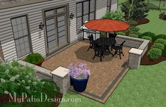 Square Rear Yard Patio with Seat Wall | Patio Designs and Ideas
