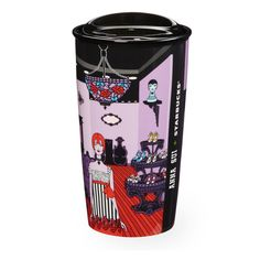 An exclusive designer ceramic coffee mug from the Anna Sui + Starbucks Collection. Fashion designer Anna Sui's iconic New York boutique artwork takes center stage on this double wall mug.