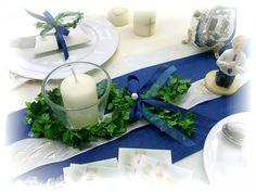 6er Set: Fisch Kerze Votivglas Blau Tischdeko Kommunion Konfirmation Taufe Kerzendeko - Vorschau 1