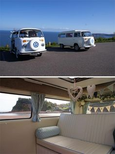 Laidback couples planning their dream festival style wedding will love the idea of arriving at their wedding in a cool VW Camper Van from VDubAndAway, based in Devon. The cars are decorated inside and will look amazing in your wedding pictures. Vw Camper, Volkswagen Westfalia Campers, Airstream Campers, Wedding Car Decorations, Wedding Cars, Cardio, Bridal Car, Combi Vw, The Settlers