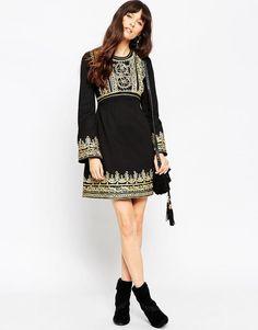 ASOS | ASOS Premium Empire Mini Dress with Gold Cording at ASOS