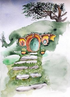 The hobbit house open green door watercolor painting Watercolour Techniques, Watercolour Tutorials, Watercolor Cards, Watercolor Paintings, Hobbit Houses, Photography Illustration, Drawing Drawing, Elvish, Jrr Tolkien
