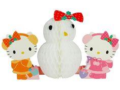Hello Kitty w/ Snowman Honeycomb Pop Up Christmas Greeting Card