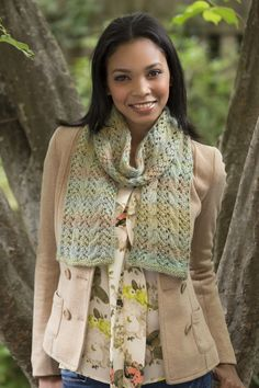 Cable and Lace Scarf Free Knitting Pattern in Red Heart Boutique Unforgettable Yarn
