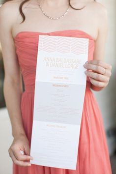 Accordion tri-fold ceremony program- love this! See more: See more: http://theeld.com/1niLan7