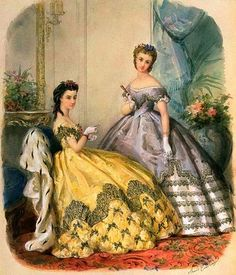 Princess Dinah and Princess Sarah Civil War Fashion, 1800s Fashion, 19th Century Fashion, Edwardian Fashion, Vintage Fashion, Vintage Gowns, Vintage Ladies, Vintage Outfits, Historical Costume