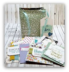 Suite Bag Of Cards ... great as a gift or to have on hand for yourself - class at home, class by mail, Latte Class to Go. #stampinup #stampalatte #latteclasstogo #gift #cardset #suitesayings #tagsandlabels