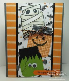 One more Halloween card with Jars of Haunts. When I made the little index card rings, I made a bunch of characters so that I could grab som. Halloween Scrapbook, Halloween Projects, Halloween Cards, Holidays Halloween, Halloween Themes, Halloween Decorations, Halloween 2016, Halloween Night, Fall Cards