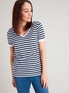 Womens Scoop Neck Breton Nautical Sailor Stripe T-Shirt Top Plus Sizes 10 to 24